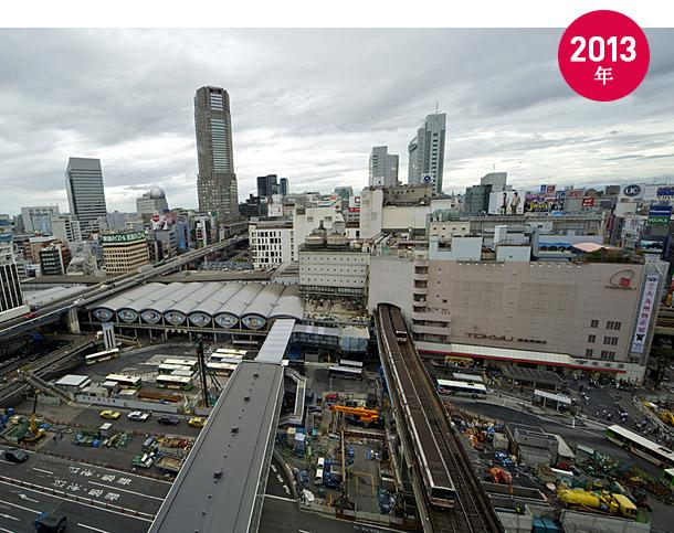 もうすぐ見納めとなる東横線渋谷駅と東急東横店東館のある風景(2013年12月撮影)<